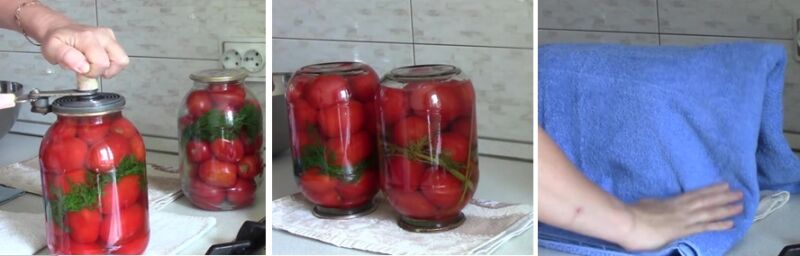 Готовые маринованные помидоры в 2 литровой банке