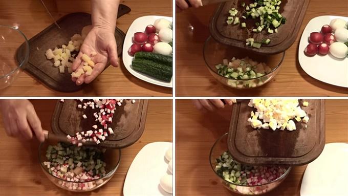 Нарезаем картошку, огурцы, редиску, яйца, зелень