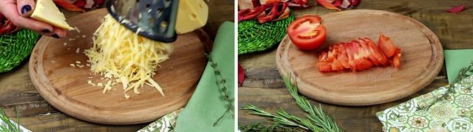 Натираем сыр, режем помидоры