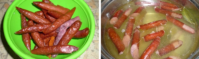 Отвариваем колбаски