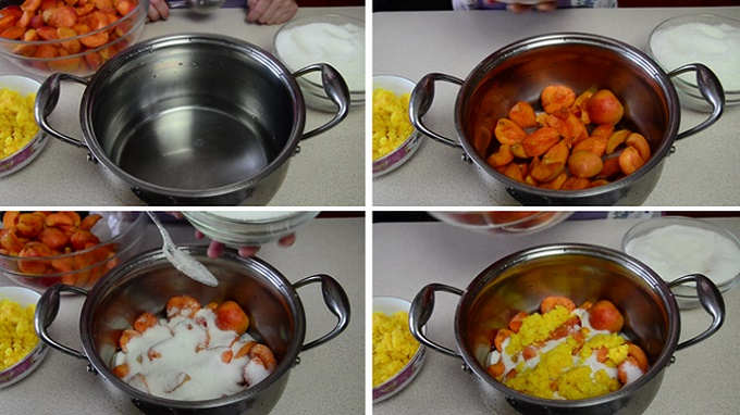 Пересыпаем сахаром слои абрикосов и апельсина