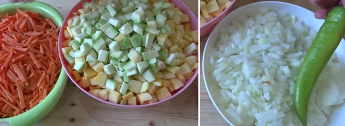 Нарезаем лук и морковь