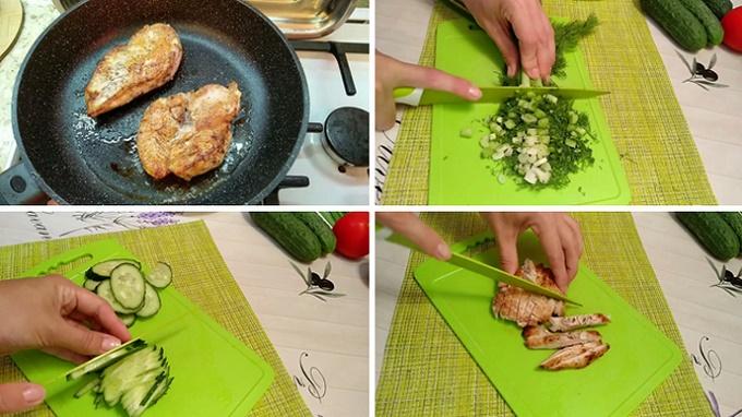 Режем овощи и куриную грудку