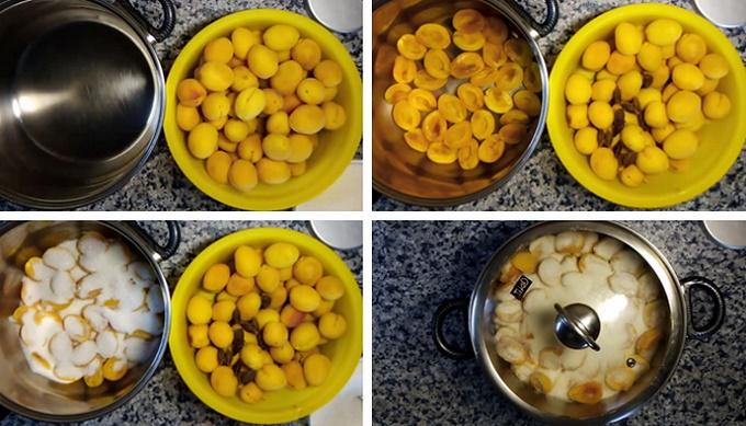 Смешиваем абрикосы с сахаром