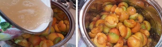 Заливаем абрикосы сахарным сиропом