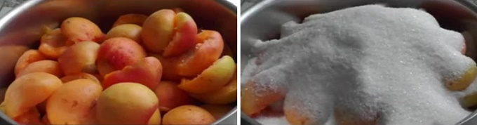 Засыпаем абрикосы сахарным песком