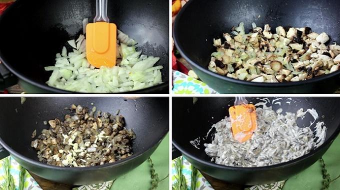 Жарим грибы с луком в сметане