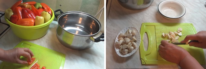 Режем перец и чеснок