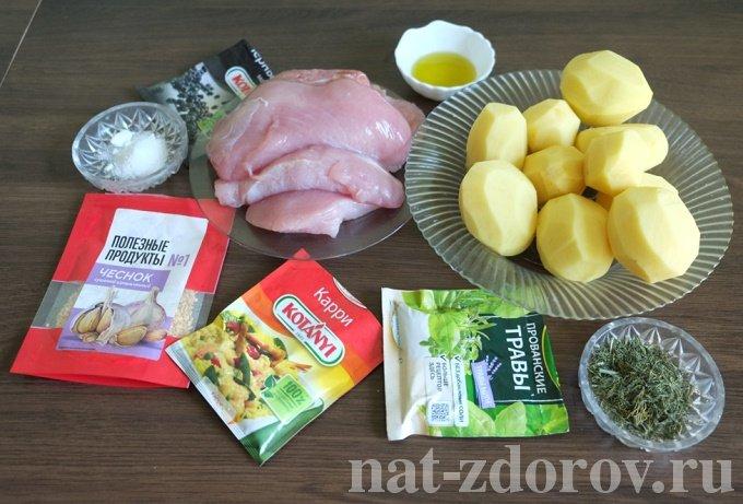 Филе индейки, запечённое с картофелем и шампиньонами — рецепт с фото